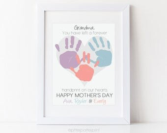 Mother's Day Gift for Grandmother, Grandma Handprint Heart Thank You from Children, Personalized with Your Child's Hands, UNFRAMED