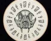 "Cat Teeth screen print on Natural Calico Framed in 10"" Embroidery Hoop"