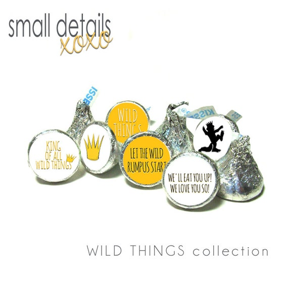 WHERE the WILD THINGS are inspired stickers ~ for Hershey's Kisses® Chocolate - Birthday - Baby Shower
