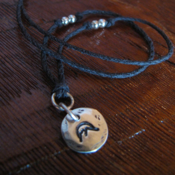 Sterling Silver and Natural Hemp Pendant Necklace Mountain Hiking Outdoors Handmade- Toniraecreations