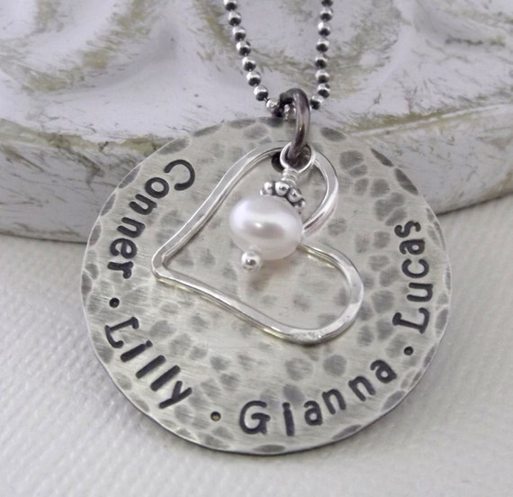 Mommy Necklace- Personalized Mom Necklace- Rustic Mommy Necklace- Mommy Jewelry- Mom Necklace- Hand Stamped Mommy Necklace- Grandma Jewelry