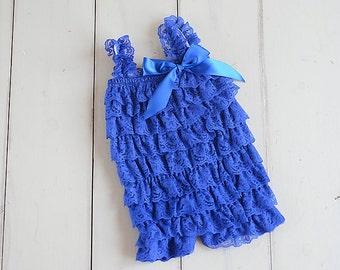 Blue romper, Baby romper, Royal blue Lace Romper, Cake smash outfit girl, Lace petti romper, Baby girl romper