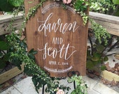 Rustic Wedding Sign, Personalized Wedding Sign with Wreath, Wooden Wedding Sign, Farmhouse Home Decor | 30x22