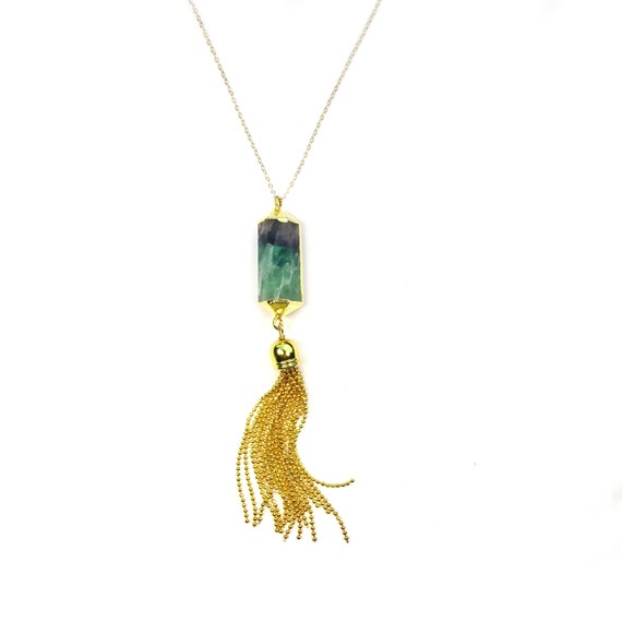 Gold Tassel Necklace, Crystal Necklace, Crystal Pendant, Green Necklace, Purple Necklace, Long Necklace, Crystal Point Necklace