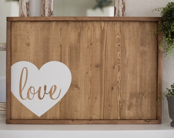 Ready to Ship - Light Wood Framed Guest Book Alternative wrap-around heart
