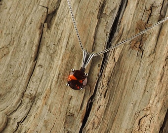 Sterling Silver Pendant/Necklace  Madeira Citrine Pendant/Necklace - Sterling Silver Setting with a 6mm Natural Madeira Citrine Stone