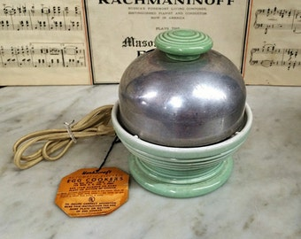 ViNTAGE SeaFOAM GrEEN HANKSCRAFT AuTOMATIC ELECTRIC Egg CooKER, KiTchEN CeRAMiC aluminUM AppLIAnCE Original Hang TaG, ArT DeCO, FiESTA Rings