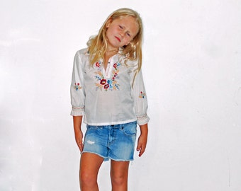 Girls Mexican Floral Embroidered  Hippie Boho Long Sleeve White Shirt Top Size 5T