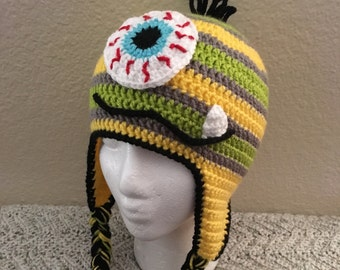 Crochet Monster Earflap Hat - Yellow, Green and Grey Stripes, Baby, Child, Teen and Adult Sizes, Boys Monster Hat, Monster Hat