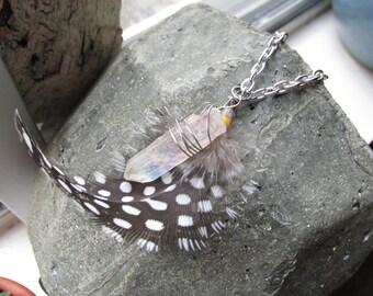 Long Feather & Quartz Necklace-30 inch