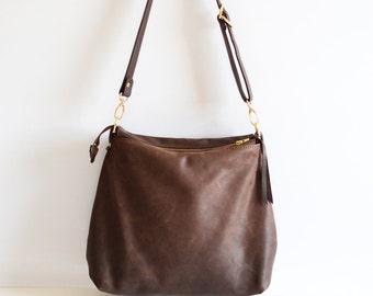 Leather hobo bag in dark brown
