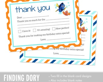 Finding Dory Birthday Thank You Cards - Finding Nemo Birthday Thank You Cards INSTANT DOWNLOAD