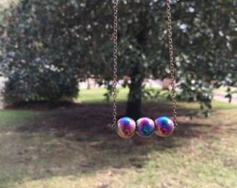 Handmade Iridescent Round Beaded Necklace