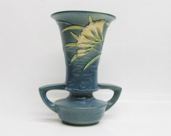 Vintage Roseville Blue Freesia Vase: Double Handle Vase - Made in 1940s Zanesville Ohio - Chipped and repaired in 2 places