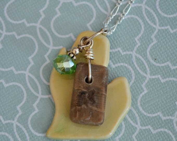Ceramic Michigan pendant with Petoskey Stone and green crystal, Michigan necklace, Up North