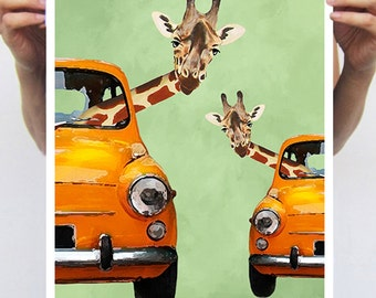 Giraffes in a car : Art Print Poster A3 Illustration Giclee Print Wall art Wall Hanging Wall Decor Animal Painting Digital Art