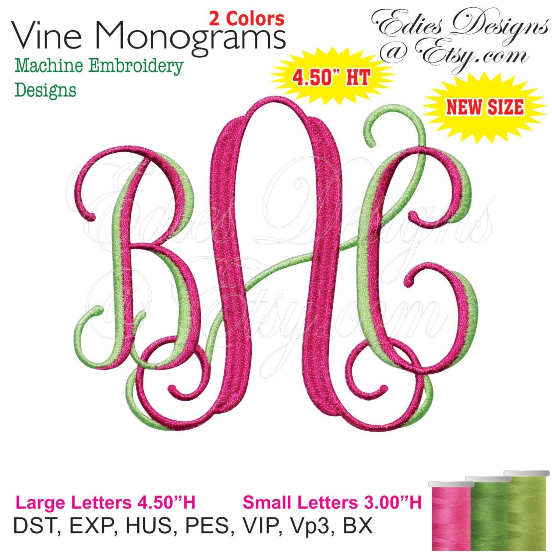 Vine monograms color machine embroidery designs monogram
