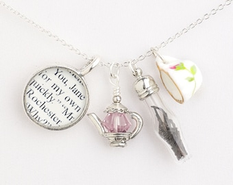 Tea with Jane Eyre Necklace - Literature Jewelry - Jane Eyre Jewelry - Literary Necklace - Tea Necklace - Book Lover Gifts