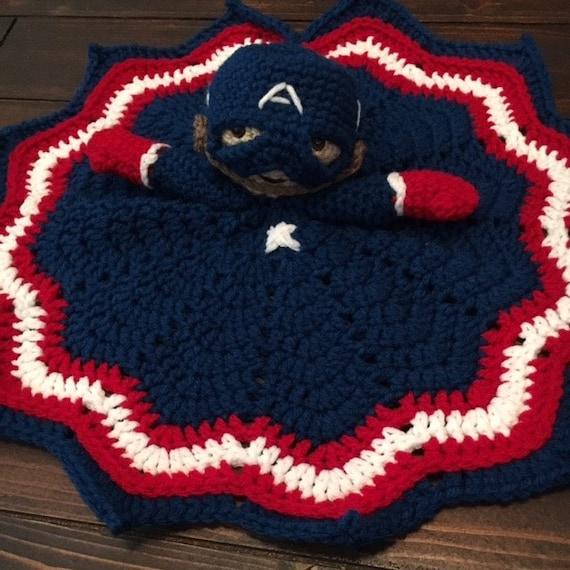 Free Crochet Pattern For Captain America Blanket : Captain America Lovey Crochet Security Blanket by CrochetHaze