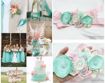 Bridal Sash / Custom Wedding Bridesmaids Belt in Ivory, Pink, Aqua Mint Blue with Brooches, Beads, Pearls, Crystals, Jewels and Flowers