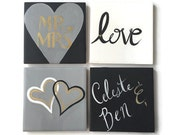 ENGAGEMENT COASTERS - Couple Gift - Mr. and Mrs. - Personalized Gift