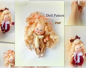 Soft Doll PATTERN, PDF, Cloth Doll Pattern, Digital Download 16-17 cm,Cloth Doll Sewing Tutorial