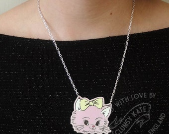 Retro Cat Necklace in Powder Pink Acrylic by Clumsy