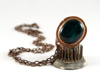 Rafael Canada Necklace - Dark Teal Green - Copper - Long - Modernist Brutalist - Canadian - 1970's -  Alfandary