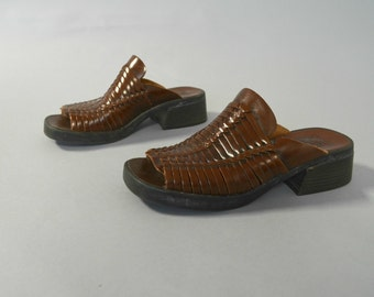 Vintage woven brown leather mules