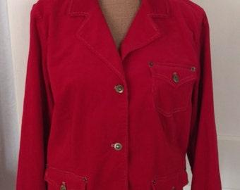 Vintage 1990's Button Up Red Corduroy Jacket Blazer