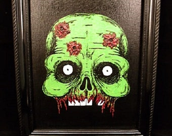 Original OOAK Acrylic Zombie Painting on 8x10 Canvas Panel with Black Frame
