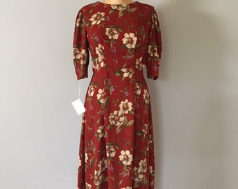 rust brown floral dress   1940s inspired dress