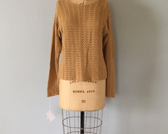 mustard netted sweater | slouchy eyelet cotton crop sweater