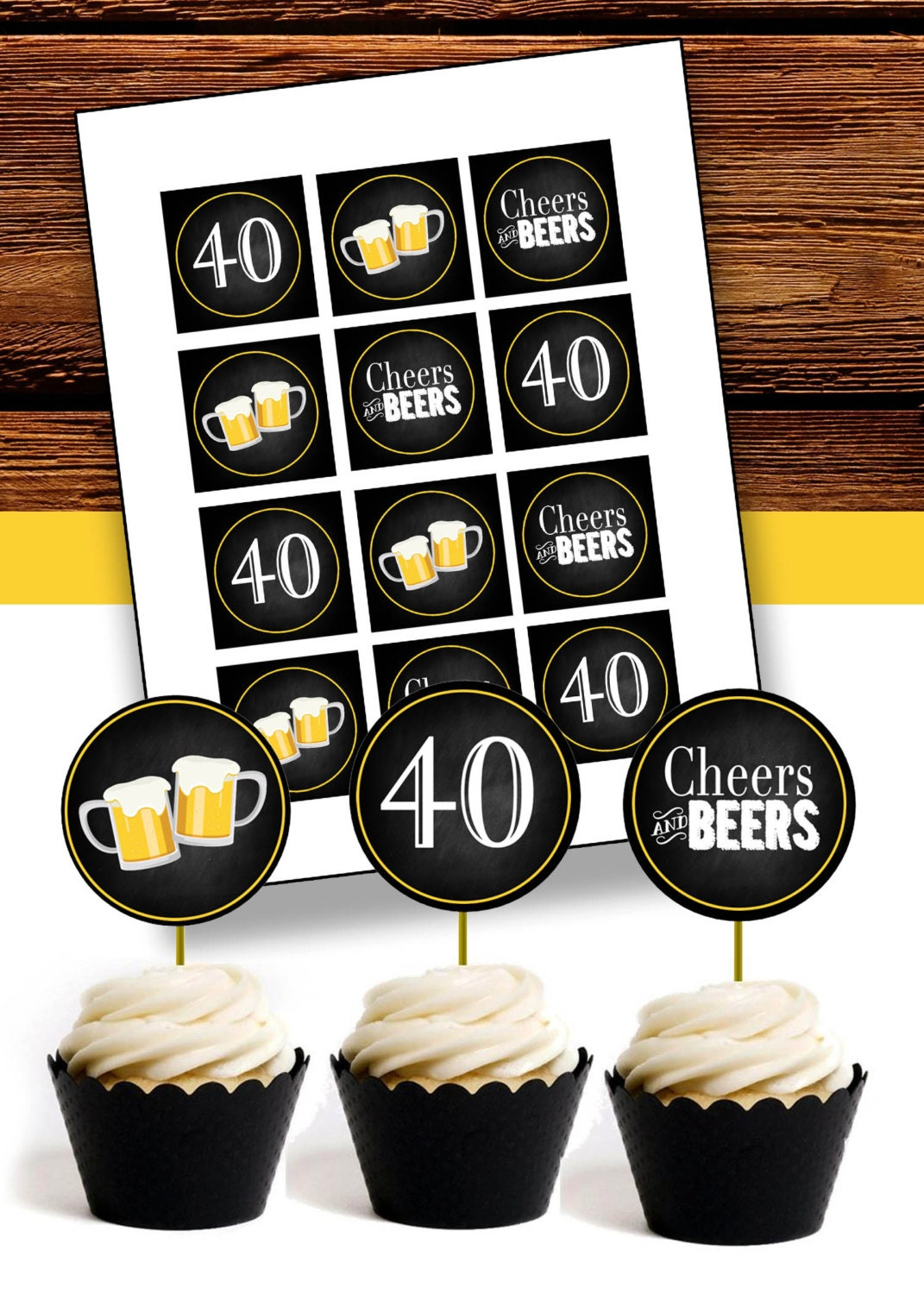 Cheers Amp Beers For 40 Years Cupcake Toppers Instant Digital