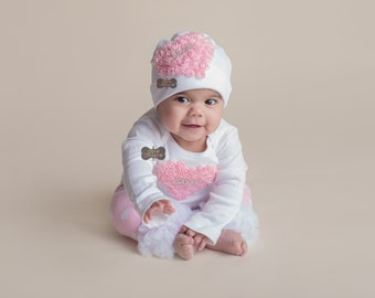 BOUTIQUE STYLE-Take Me Home-Hospital Outfit-Newborn Photo Prop-Baby Girl Outfit-Set-Newborn Girl Hospital Outfit-Coming Home Outfit-Infant