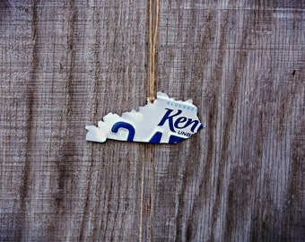 """Upcycled Kentucky License Plate """"State of Kentucky"""" Ornament"""