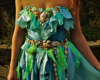 Boho mermaid dress/Ariel/cosplay/Halloween/Costume/bespoke/pagan/bohemian/hippy/witch/seashell/wedding/fairy dress/festival
