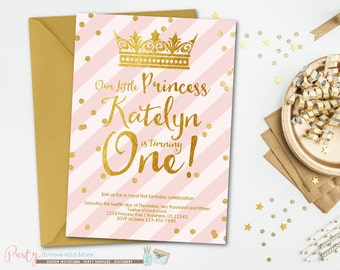 Princess Birthday Invitation, Princess Invitation, Pink Birthday Invitation, Pink and Gold Birthday Invitation, First Birthday Invitation