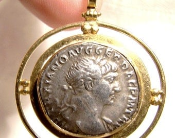 Trajan Silver Drachm Ancient Roman Coin in 18K Pendant for Necklace 98-117 AD Period 18 K