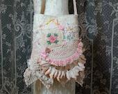 Lace Bag - Shabby Chic Vintage Lace Bag - Tattered Romantic Bag - Vintage Linens and Lace Purse - Doily Purse