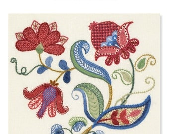 PDF download MEADOW BLOOM crewel embroidery pattern
