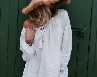 White Peasant Blouse Top - Lace up Neckline, Pin Tuck Loose Fitting Shirt - White Top