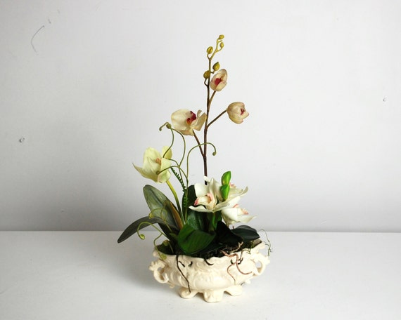 Silk Flower Arrangement Silk Orchid Silk Centerpiece Faux