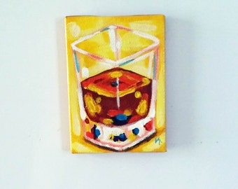 Shot of Booze, Magnet, Original Painting, Whiskey Painting, Kitchen Art, Drink Art, Drink Magnet, Whiskey, Food Painting