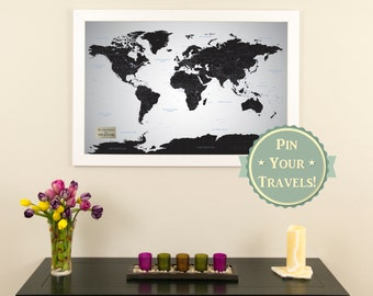 Personalized executive world travel map with pins and frame personalized black ice world push pin travel map with pins and frame 24 x 36 gumiabroncs Gallery