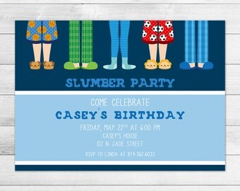 Sleepover, Slumber Party Birthday Party Invitation, Printable Digital Invite File, Boy, Blue