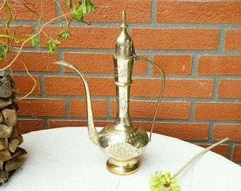 Vintage Metal Middle Eastern Teapot, Gold color Pitcher, Brass Teapot, Water Can