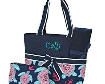 Personalized Diaper Bag | Boys Diaper Bag | Girls Diaper Bag | Monogram Diaper Bag | Baby Bags | Nappy Bag | Changing Bag | Navy Blue Turtle