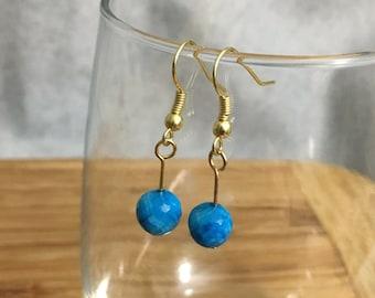 Blue Gemstone Drops - Gold