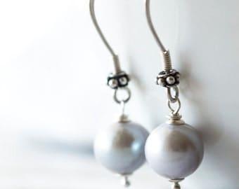 Bride Pearls Earrings Grey Round Pearl Earrings Zilver Brides Earrings Parel Oorbellen Wedding Earrings Grey Silver Earrings Gift for Her